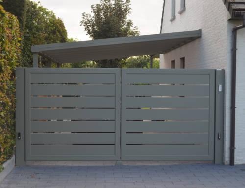 Aluminium 161 – Lammel 200 horizontaal (dubbele draaipoort + carport)