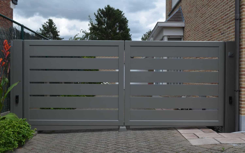 Aluminium 173 – Lammel 200 horizontaal (dubbele draaipoort)