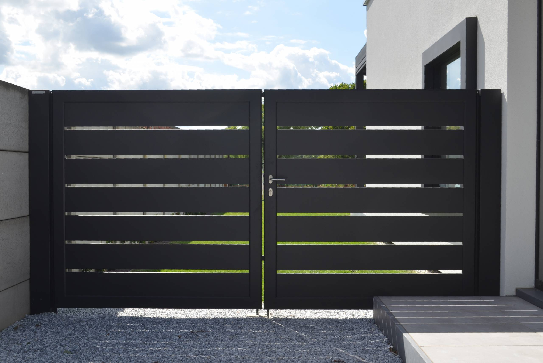 Aluminium 176 – Lammel 200 horizontaal (dubbele draaipoort + enkele draaipoort met vast stuk)