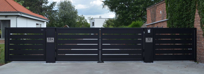 Aluminium 172 – Lammel 200 horizontaal (dubbele draaipoort)